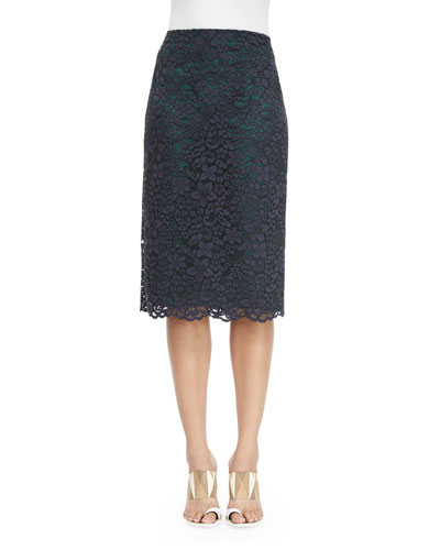 Floral-Lace Pencil Skirt, Navy