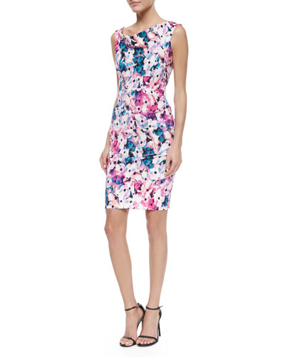 Sleeveless Heavenly Floral Sheath Dress, Multicolor
