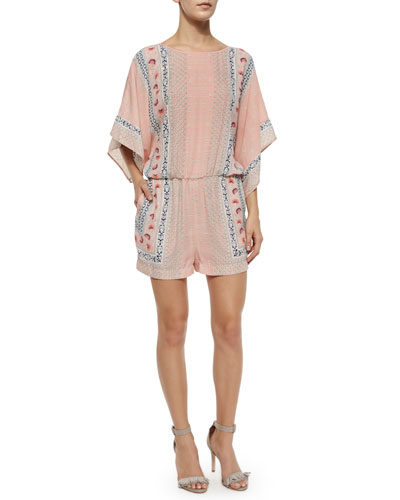 Caiti Chiffon Multipattern Romper, Shadow Blush/Multicolor