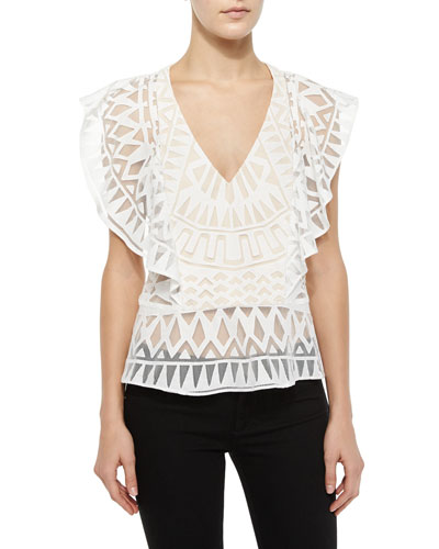 Mandee Geometric Ruffle Top, White