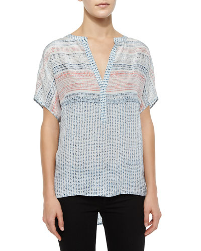 Ayanna Woven Chiffon Blouse, Moonrise/Multicolor