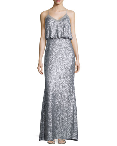 Sequined Sleeveless Blouson Gown