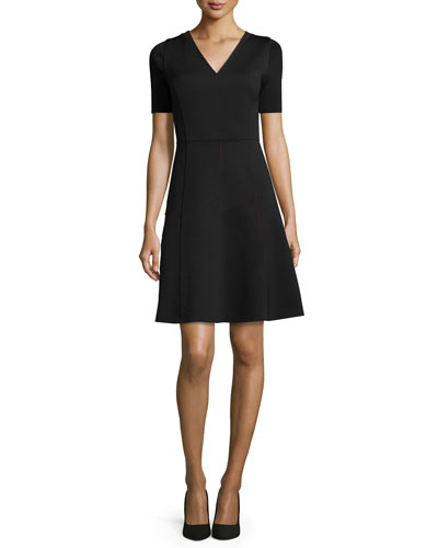 Maria Short-Sleeve Fit & Flare Dress