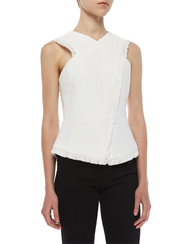 Asymmetric Munson Frayed Woven Top, Off White