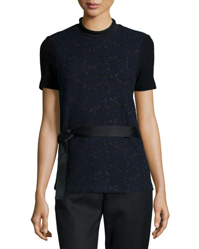 Short-Sleeve Lace Top w/ Utility Belt
