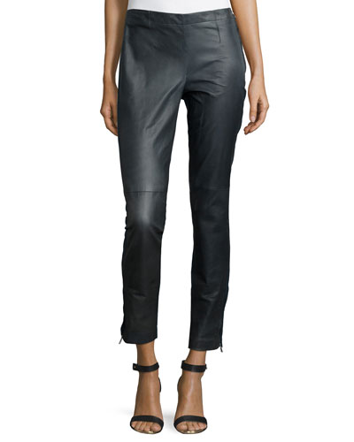 Micro-Stretch Skinny-Fit Leather Pants, Slate Melange