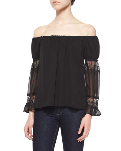 Lace-Sleeve Off-the-Shoulder Top, Black