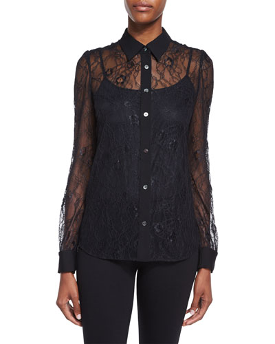 Mariah Long-Sleeve Lace Blouse, Black