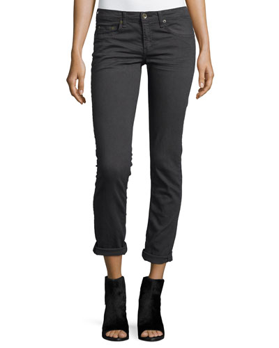 Dre Low-Rise Cropped Denim Jeans, Aged Charcoal