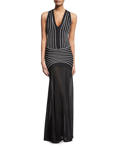 Sleeveless Contrast-Seam Halter Gown, Black Combo