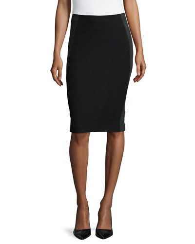 Two-Tone Pencil Skirt, Black/Charcoal