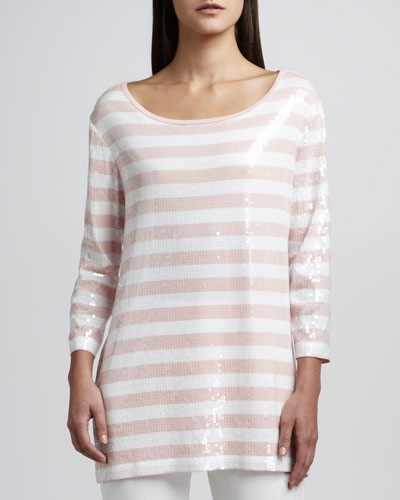 Sequined Striped Tunic, Women