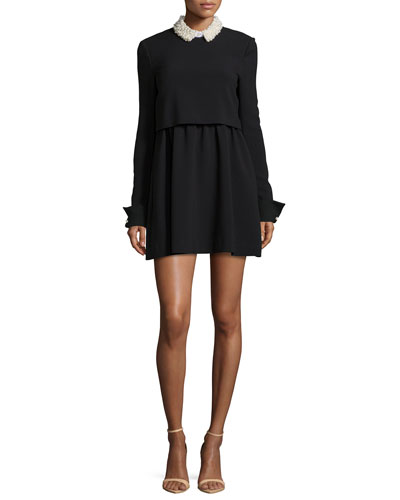 Bliss Embellished-Collar Mini Shirtdress, Black/White
