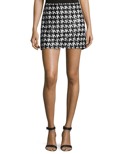 Sara Houndstooth Lace Skirt, Black/White