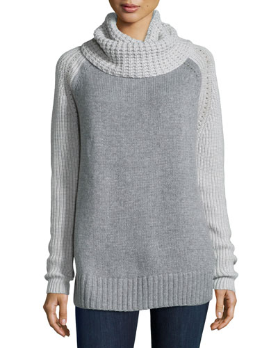 Cowl-Neck Two-Tone Cashmere-Blend Sweater