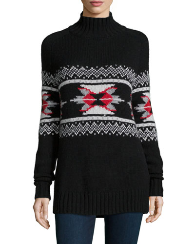 Fair Isle Mock-Neck Cashmere-Blend Sweater