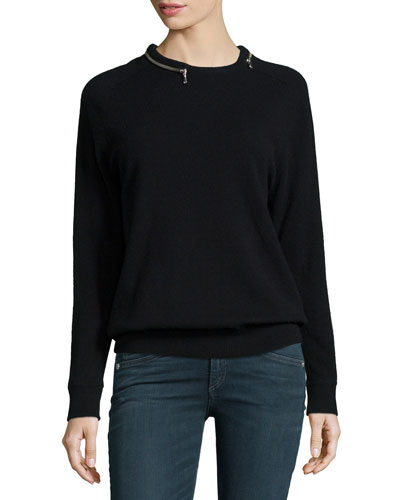 Zipper-Neck Cashmere Top