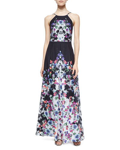 Halter Floral-Print Pleated Gown