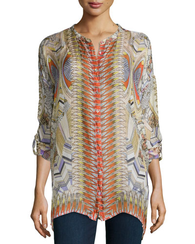 Feather-Print Silk Button-Front Tunic