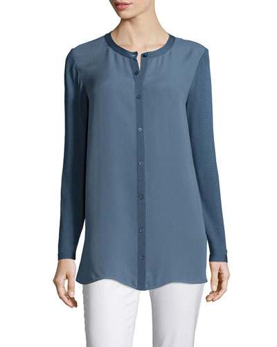 Long-Sleeve Button-Front Mixed Tunic