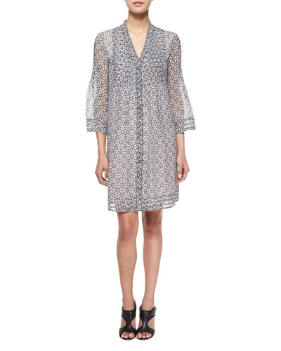 Layla Printed Silk Tunic Dress, Bali Lace Black