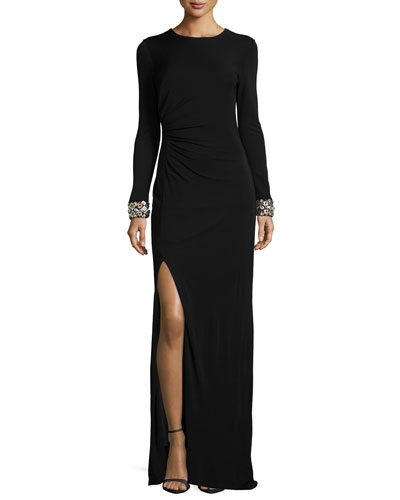 Long-Sleeve Beaded-Cuff Ruched Gown