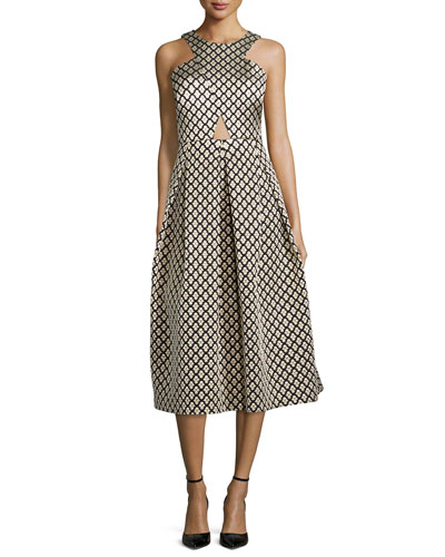 Halter Jacquard Cocktail Dress