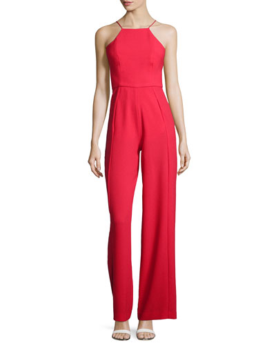 Sleeveless Wide-Leg Jumpsuit, Wild Fire
