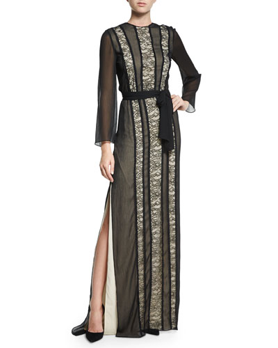 Kye Chiffon Lace-Trim Maxi Dress, Black/Brown
