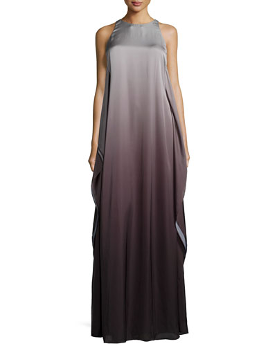 Sleeveless Ombre Evening Gown, Black/Silver