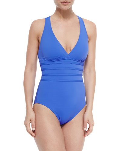 Core Multi-Strap-Center One-Piece Swimsuit, Periwinkle