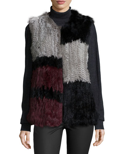 Colorblock Rabbit-Fur Vest, Multi Colors