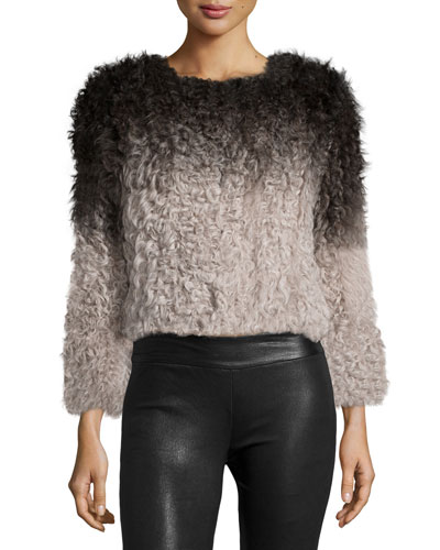 Ombre Long-Sleeve Sweater, Ivory/Black