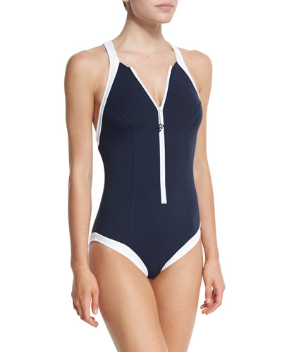 Block Party High-Neck One-Piece, Indigo