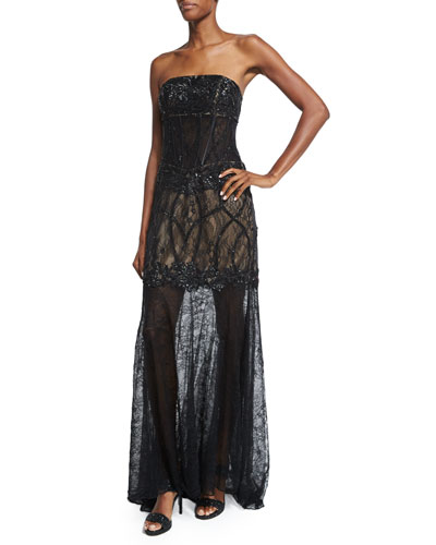 Strapless Lace Illusion-Hem Gown