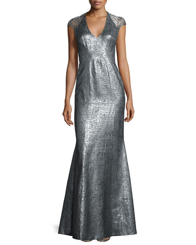 Cap-Sleeve Metallic High-Slit Gown