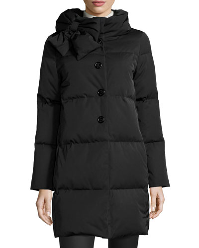 funnel-neck puffer coat with bow