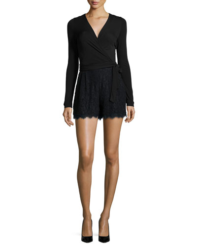 Tillie Surplice Lace-Trim Romper, Black