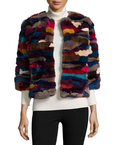 3/4-Sleeve Patchwork-Fur Jacket, Multi Colors
