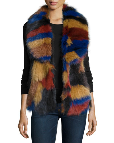 Fox-Fur Patchwork Vest, Multi Colors