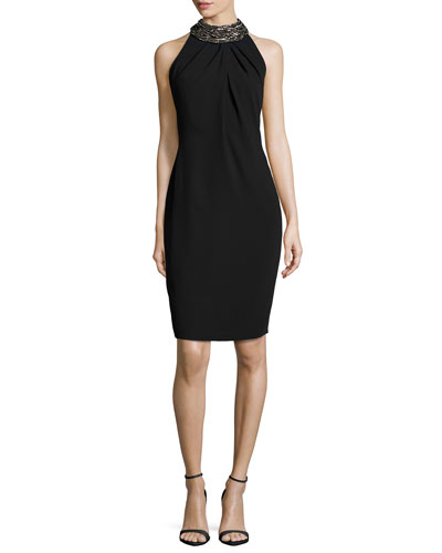 Sleeveless Embellished Cocktail Dress, Black