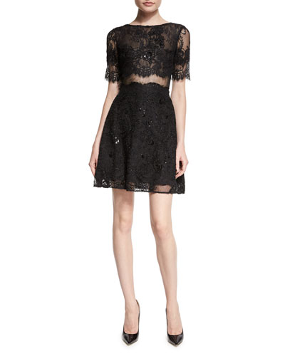 Short-Sleeve Flared Lace Cocktail Dress