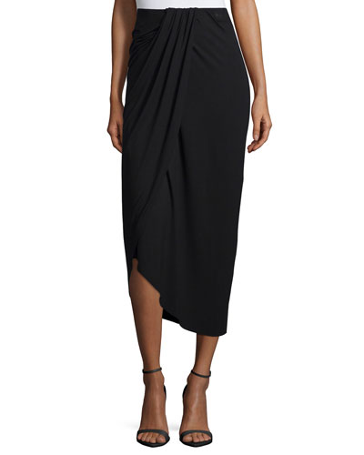 Pleated & Draped Jersey Midi Skirt
