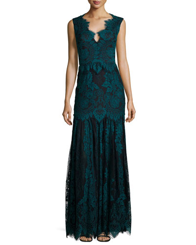 Joanna Cap-Sleeve Lace Gown
