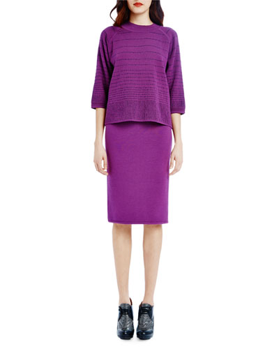 Dense-Knit Pencil Skirt, Amethyst