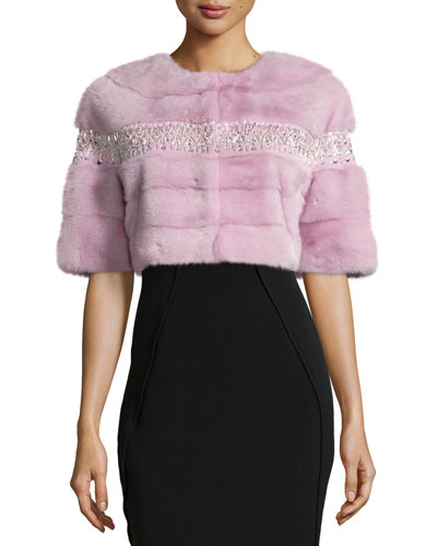 Beaded Mink Fur Bolero, Pale Pink