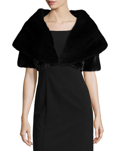 Mink Fur Short-Sleeve Bolero, Black