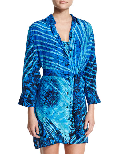 Santiago Printed Button-Down Coverup
