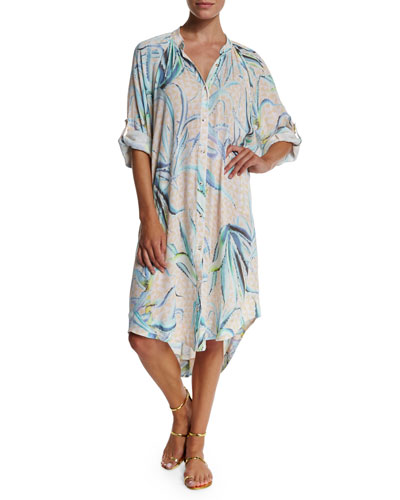 Aloe Printed Button-Down Shirtdress Coverup