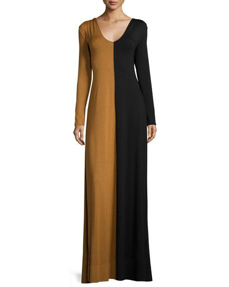 Long-Sleeve Two-Tone Maxi Dress Plus Size